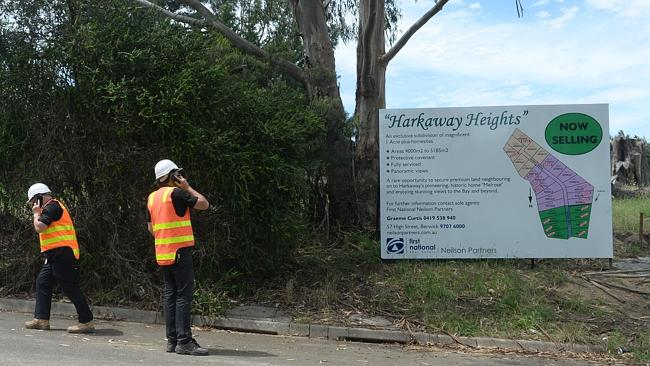 Advertising for the Harkaway Heights housing development. Picture: Susan Windmiller