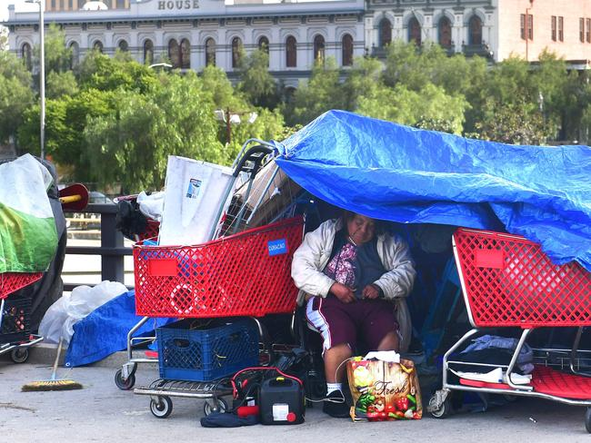 Tarps cover a tent for the homeless in Los Angeles, California. Picture: AFP