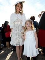 Victoria Letheby, left, and Isabel Graham, 4, in their royal best at Elizabeth. Picture Simon Cross
