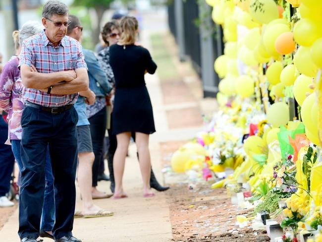 The Scott family return's to Leeton High school where murdered schoolteacher Stephanie Scott worked. Photo Jeremy Piper
