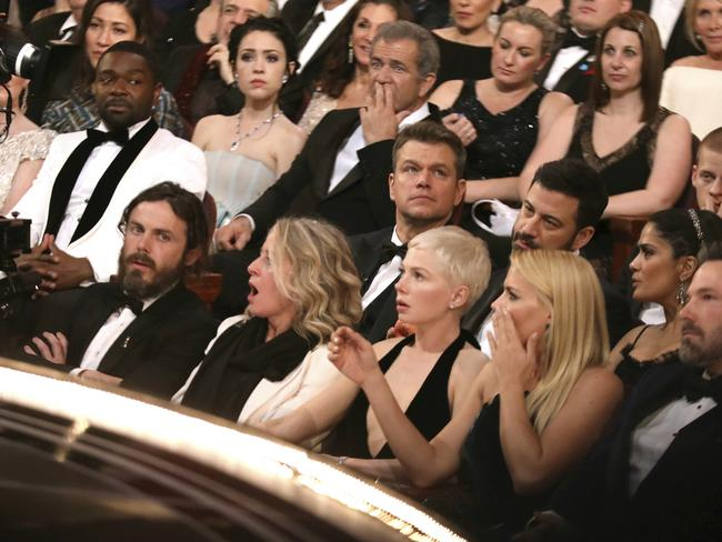 A shocked Oscars audience realises the mistake. Picture: AP