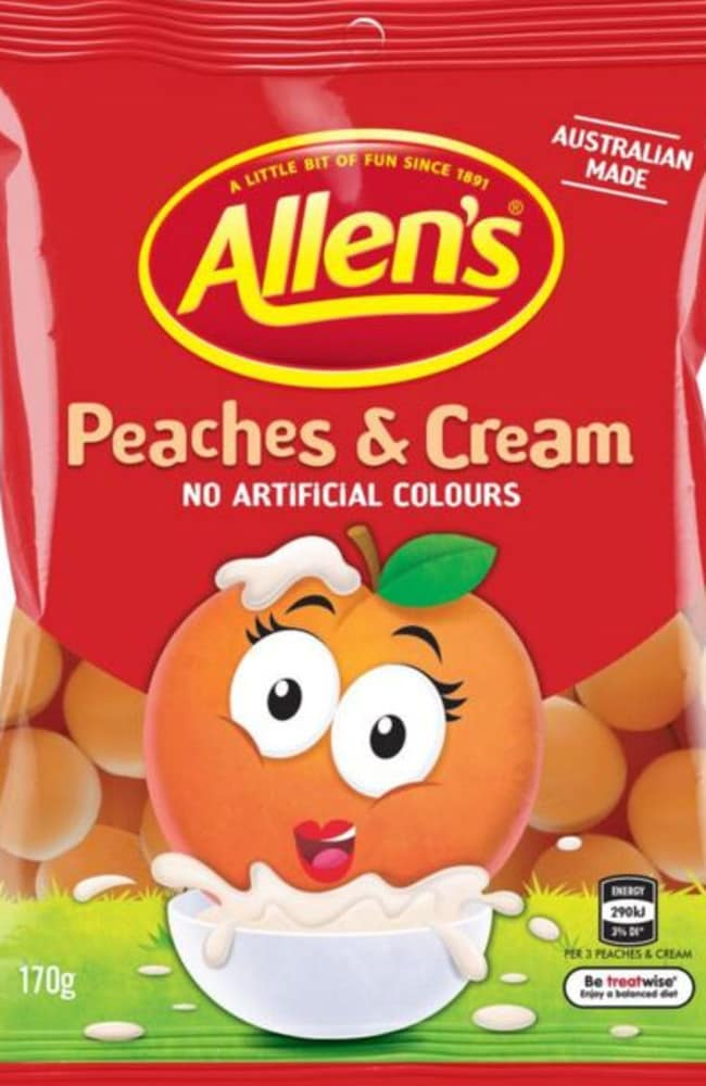 The new bags of Peaches & Cream lollies will be available from March. Picture: Supplied.