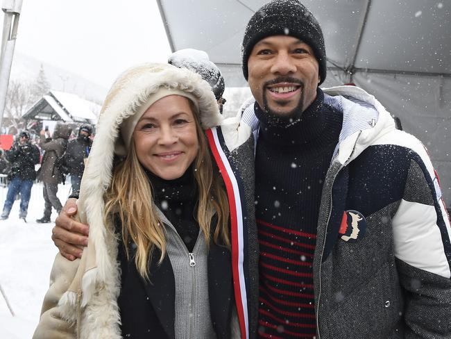 Maria Bello and American hip hop artist Common pose for a photo at Rally Park City to celebrate community victories, honoring the one-year anniversary of the Women's March. Picture: AFP