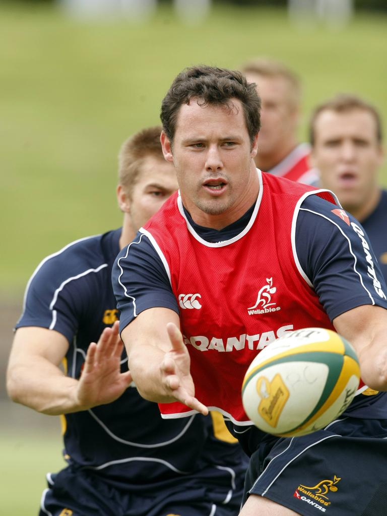 Al Baxter in action during a Wallabies training session in 2008.
