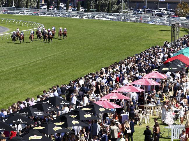 A big crowd gathers at Morphettville for Adelaide Cup Day. Picture: Sarah Reed