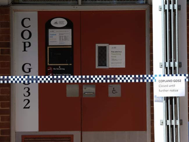 Police activity at Copeland GO32 classroom at ANU Canberra where an assault took place. Picture: Ray Strange.