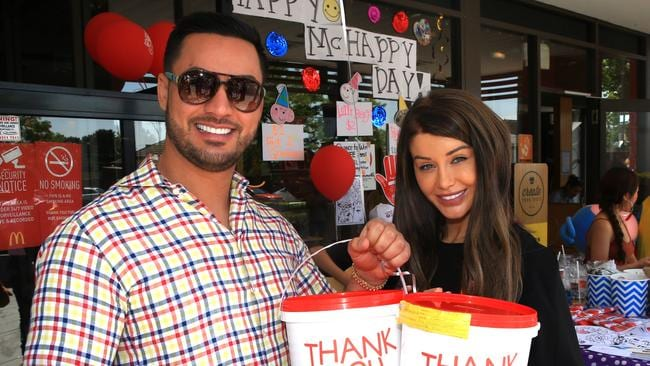 Salim Mehajer and wife Aysha at a McDonalds fundraiser at Lidcombe to help raise money for McHappy day. Picture: Mark Evans