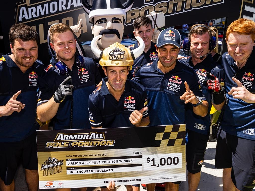 Jamie Whincup celebrates with his team. Pic: Daniel Kalisz