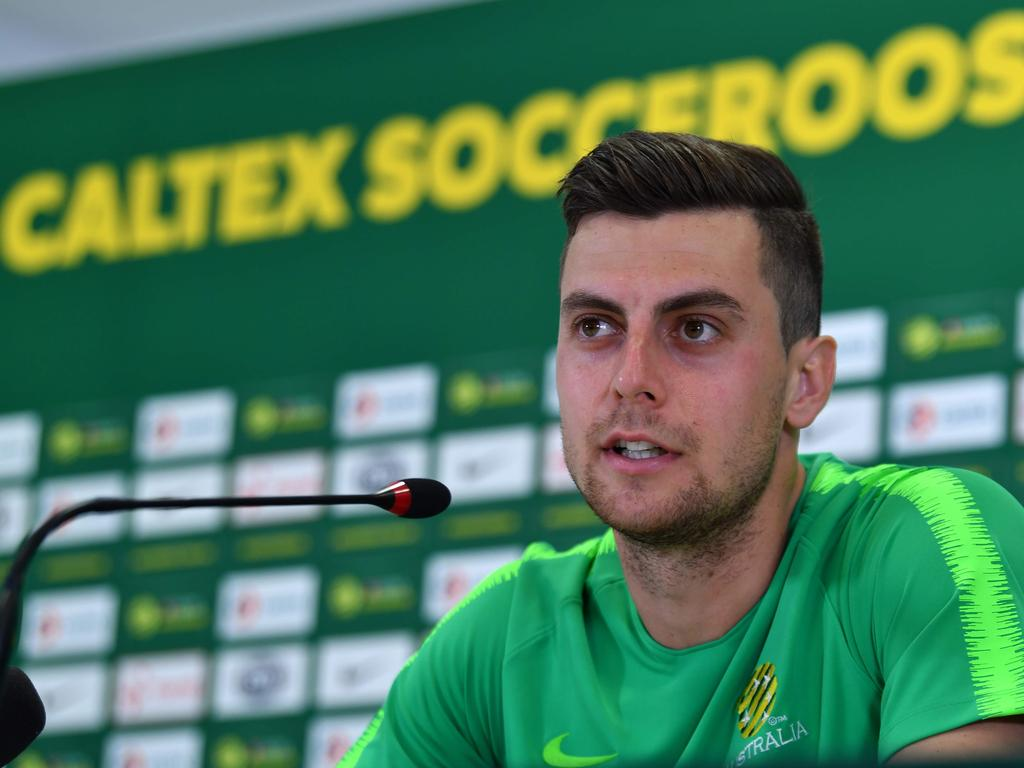 Australia's forward Tomi Juric attends a press conference in Kazan on June 24, 2018, during the Russia 2018 World Cup football tournament.  / AFP PHOTO / SAEED KHAN