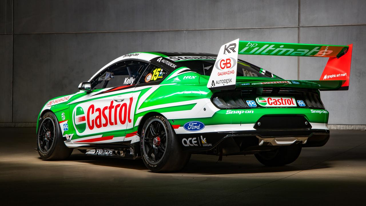 The #15 Castrol Mustang from the left rear quarter.