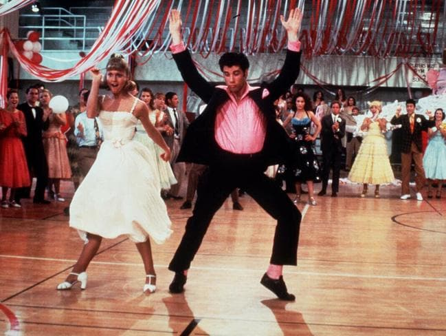 """Olivia (as """"Sandy No. 1"""") and Travolta in one of the dance numbers in Grease."""
