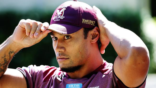 Steve Matai in Manly's club clobber. Picture: Braden Fastier NRL/ Rugby League