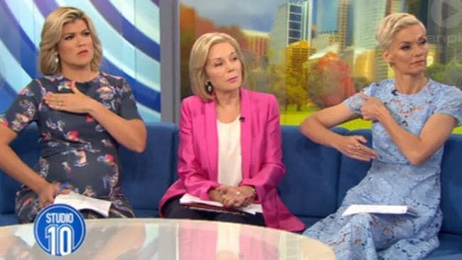 Sarah Harris, Ita Buttrose and Jessica Rowe during the segment.
