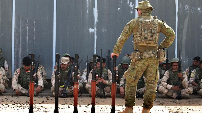 Some 300 Australian and 107 New Zealand soldiers are on a mission to upskill members of the Iraqi Security Forces in battle techniques, with a special focus on counter-terror and close urban warfare. Picture: Gary Ramage