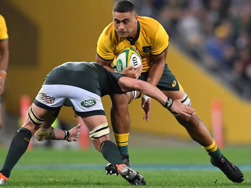 Lukhan Tui (right) of the Wallabies in action during the Rugby Championship match between Australia and South Africa at Suncorp Stadium in Brisbane, Saturday, September 8, 2018. (AAP Image/Darren England) NO ARCHIVING, EDITORIAL USE ONLY