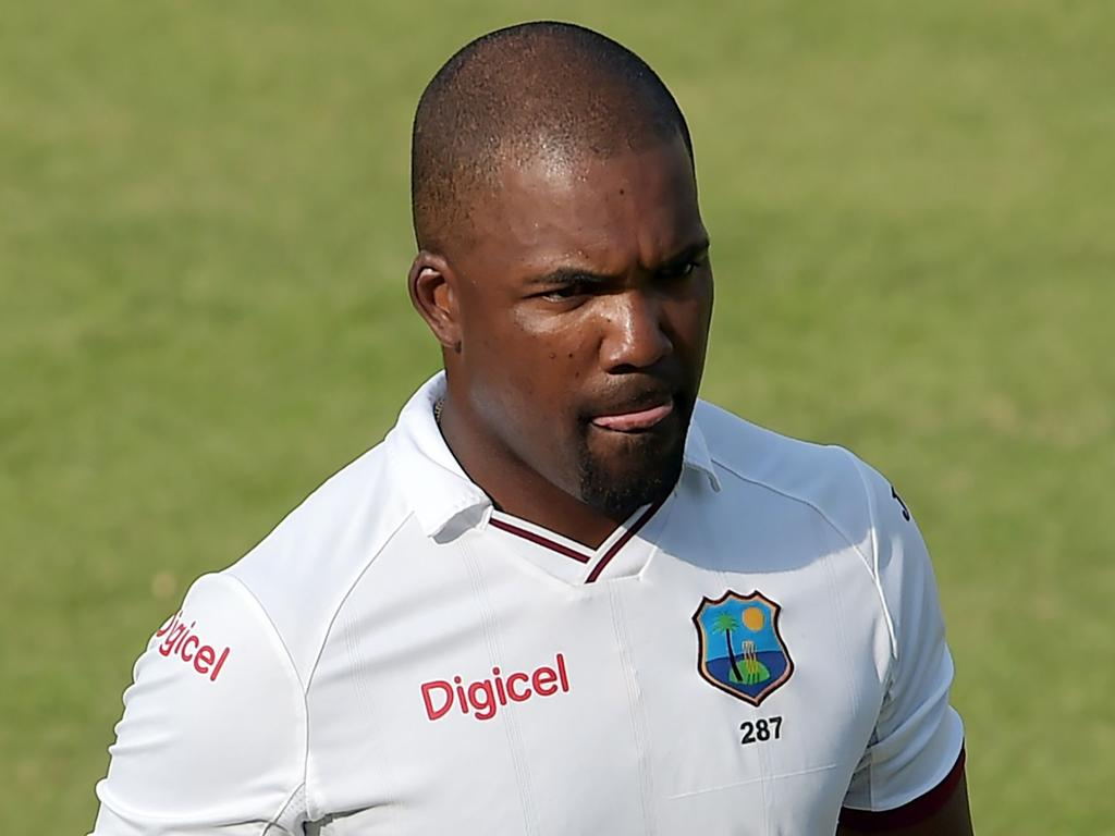 West Indies' batsman Darren Bravo leaves the ground after his dismissal on the fourth day of the third and final Test between Pakistan and the West Indies at the Sharjah Cricket Stadium in Sharjah on November 2, 2016.   West Indies require 153 runs to win the third and final Test after dismissing Pakistan for 208 in their second innings on the fourth day in Sharjah. / AFP PHOTO / AAMIR QURESHI