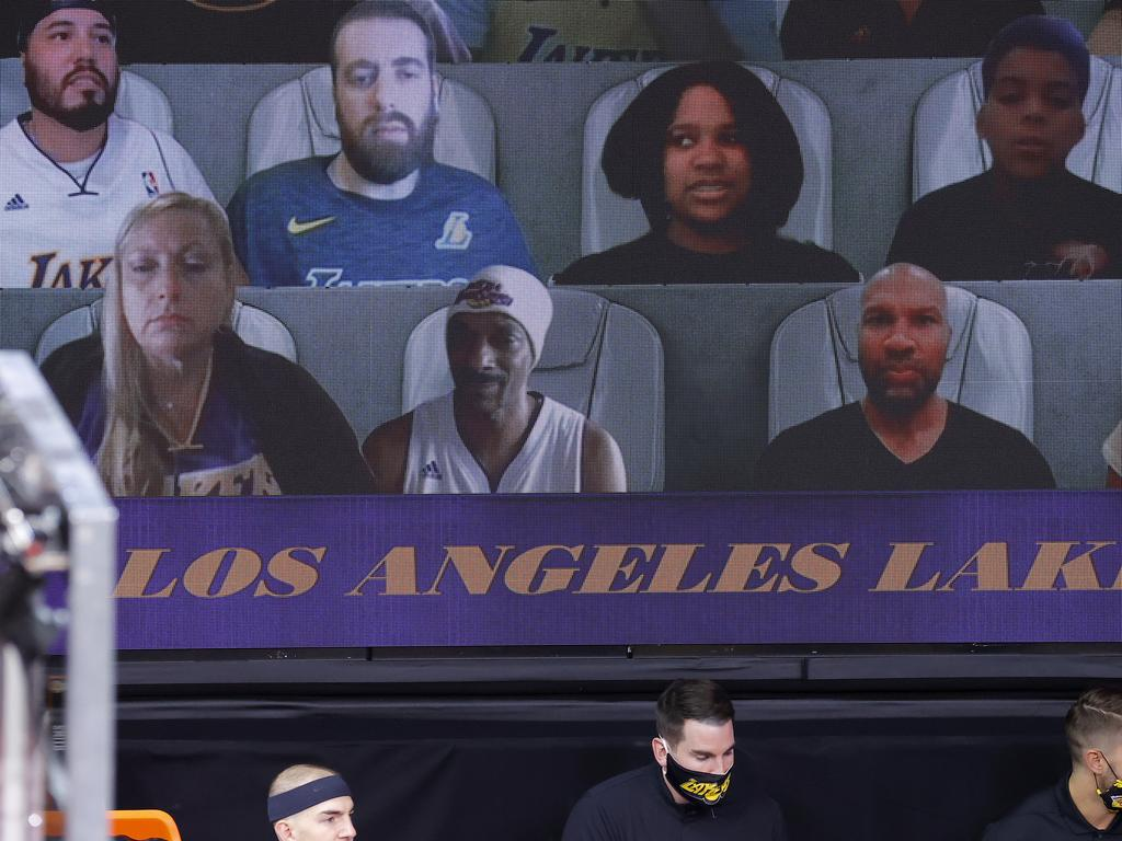 Virtual fans, including Snoop Dogg, are seen during Game Two of the 2020 NBA Finals between the Miami Heat and the Los Angeles Lakers at AdventHealth Arena on October 2. Picture: Kevin C. Cox/Getty Images