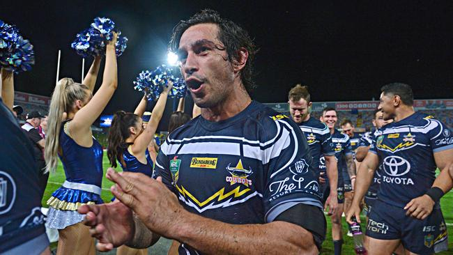 Cowboys legend Johnathan Thurston is all smiles after the win over the Titans. Picture: Zak Simmonds