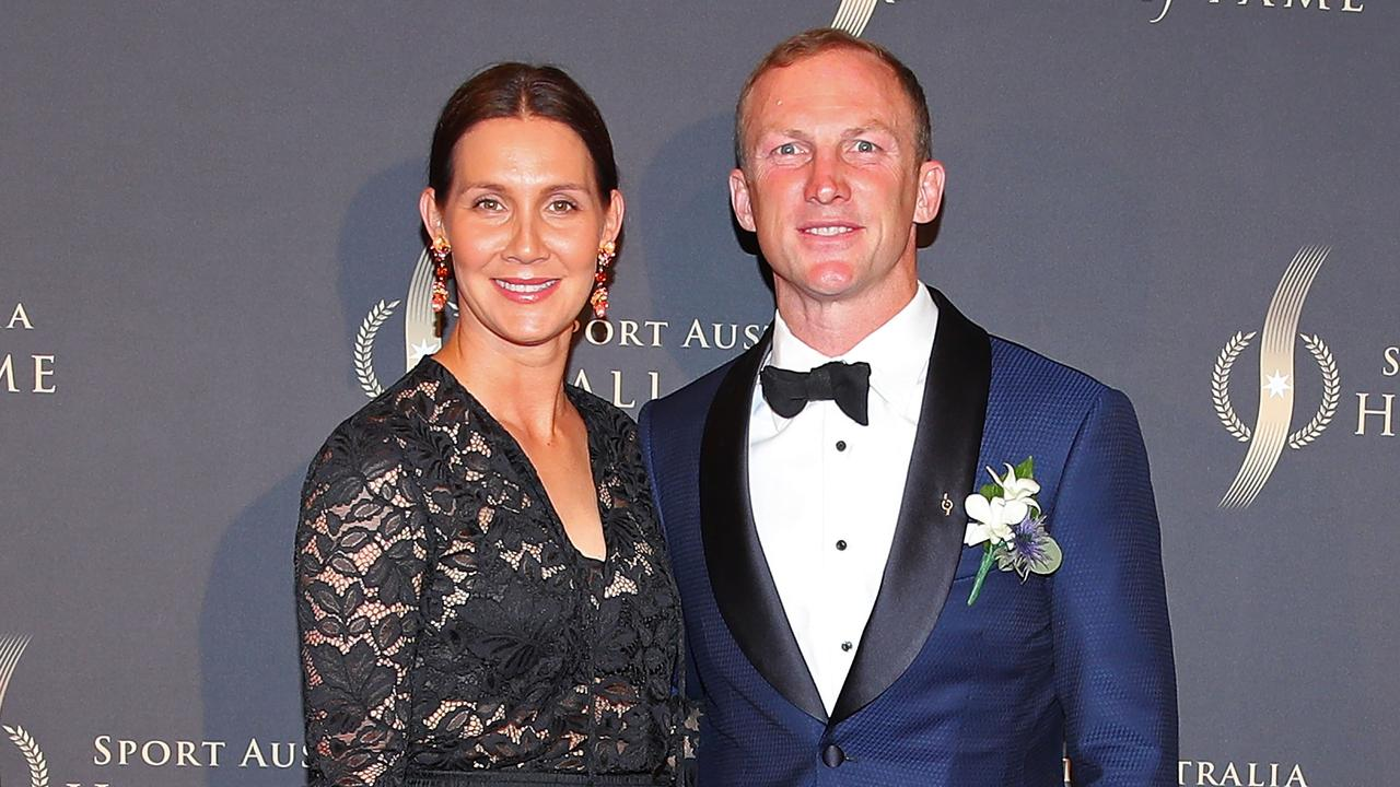 Darren Lockyer and wife Loren Pollock pictured at the Sport Australia Hall of Fame Gala Dinner in Melbourne.