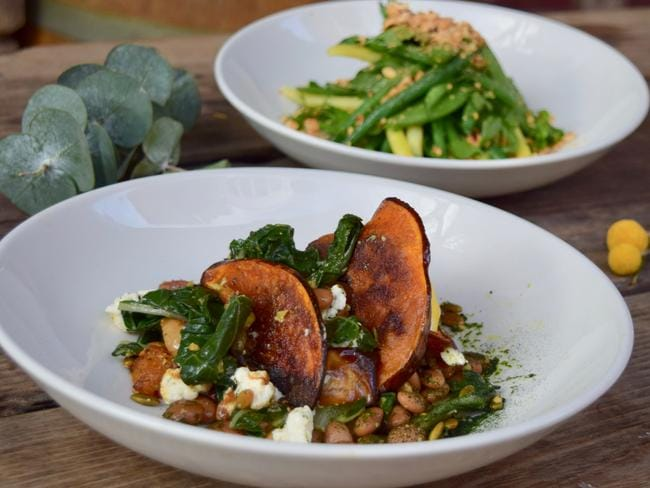 The Unicorn Hotel's pumpkin salad with pickled beans, green olive and ricotta; and the bean and hazelnut salad. Picture: Jenifer Jagielski