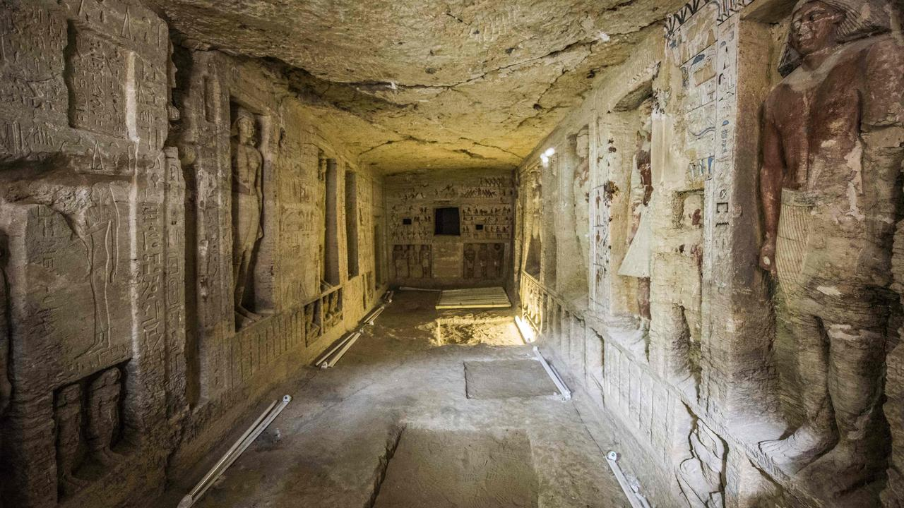 "The tomb of the important priest ""Wahtye"" at Saqqara 30km south of the Egyptian capital Cairo. Picture: AFP"
