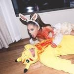 "Halloween 2016 via social media ... Ariana Grande and Mac Miller, ""Eevee cannot contain her love, excitement and adoration for Pikachu and eats him."" Picture: Instagram"