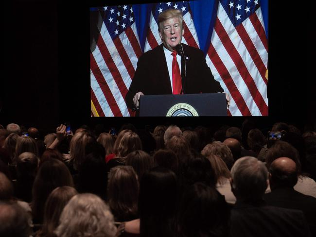Donald Trump is watched on a large screen as he speaks during the National Association of Realtors Legislative Meetings and Trade Expo in Washington on May 17. Picture: AFP