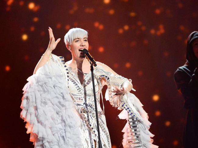 Nina Kraljic in her eye-catching Eurovision frock. Picture: AFP