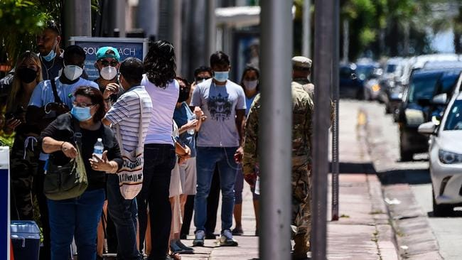 People line up for 'walk-in' and 'drive-through' COVID-19 testing centre at Miami Beach, Florida. Picture: Chandan Khanna/AFP