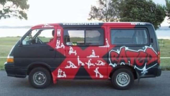 This 'X-rated' van features pornographic cartoons.