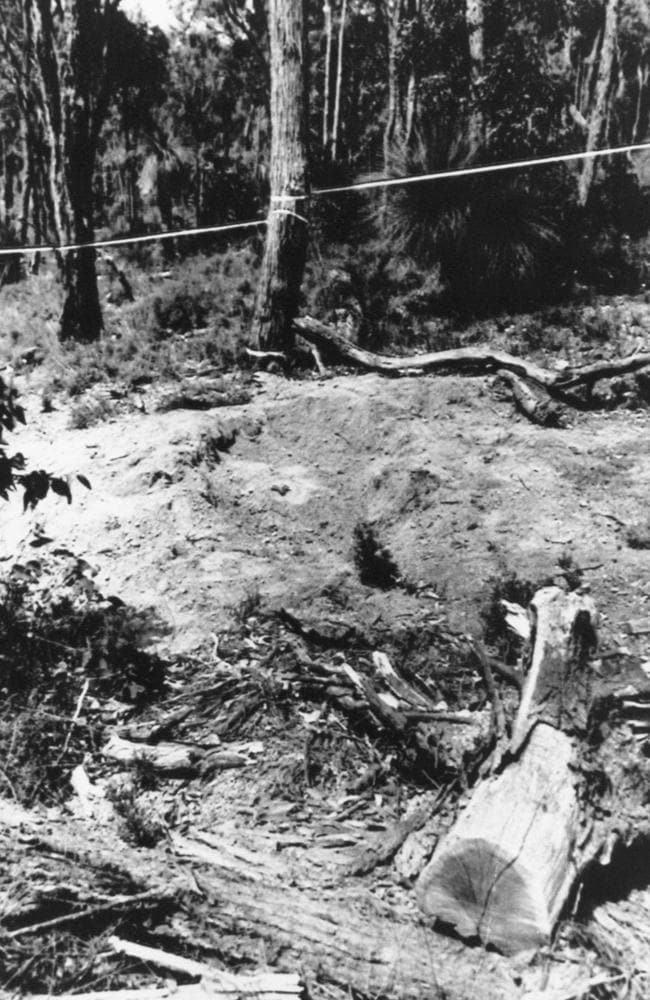 This hole in the Glen Eagle forest 50km southwest of Perth was the site of the double grave for two of the Birnies' victims. Picture: Ernie McLintock