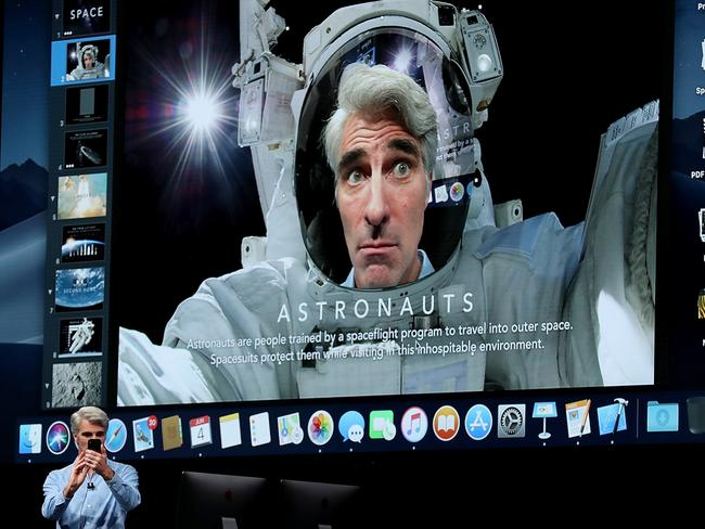 Apple's senior vice president of Software Engineering Craig Federighi demonstrated some of the cool new features. Picture: Justin Sullivan/Getty Images/AFP