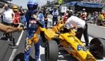 Fernando Alonso, of Spain, removes his gears after he qualified for the Indianapolis 500 IndyCar auto race at Indianapolis Motor Speedway, Saturday, May 18, 2019, in Indianapolis. (AP Photo/Darron Cummings)