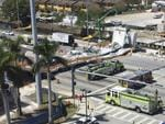 Emergency personnel responds to a collapsed pedestrian bridge connecting Florida International University Florida International on Thursday, March 15, 2018 in the Miami area. The brand-new pedestrian bridge collapsed onto a highway crushing at least five vehicles. Picture:Roberto Koltun/The Miami Herald via AP