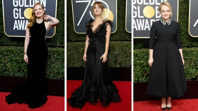 Jessica Chastain, Lily James and Elisabeth Moss wear black in support of #TimesUp at the 2018 Golden Globes. Photo: Getty