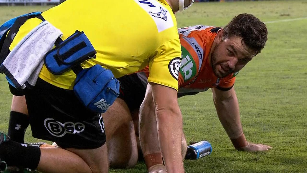 Aidan Guerra is given attention from the trainer after his horror ankle injury.