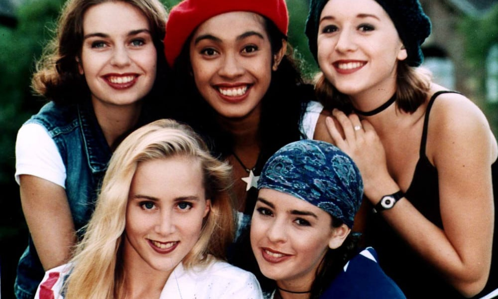 Band 'Girlfriend' (later known as GF4) members Robyn Loau, Melanie Alexander, Lorinda Noble, Jacqui Cowell and Siobhann Heidenreich, band disbanded with bad debts despite international success. Music group.