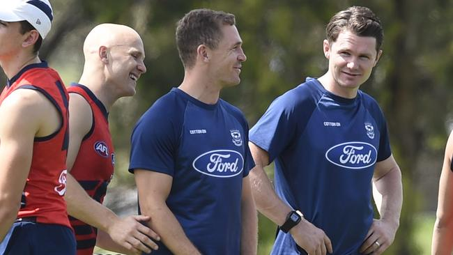 Gary Ablett, Joel Selwood and Patrick Dangerfield have combined forces at Geelong. Picture: Alan Barber
