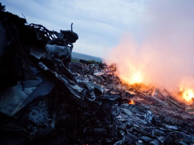 Debris from Malaysia Airlines Flight 17 is shown smouldering in a field July 17, 2014 in Grabovo, Ukraine near the Russian border.