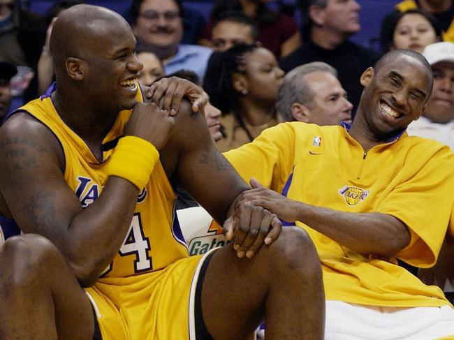 Los Angeles Lakers Shaquille O'Neal, left, and Kobe Bryant. (AP Photo/Kevork Djansezian, File)