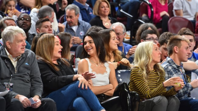 Kendall Jenner courtside watching Ben Simmons play with his mother. Photo: AFP