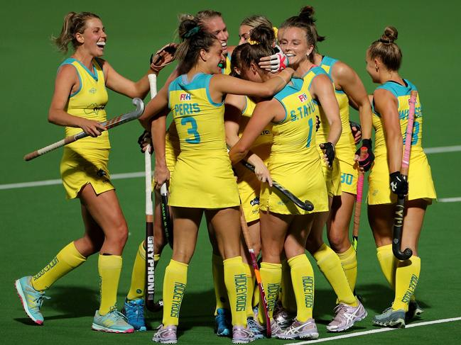 And the Hockeyroos celebrate! Picture: AAP