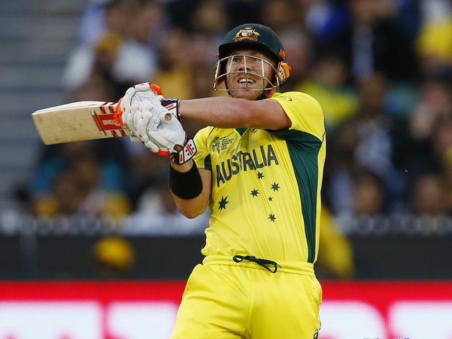 David Warner played a quickfire knock for Australia. Picture: Michael Klein.