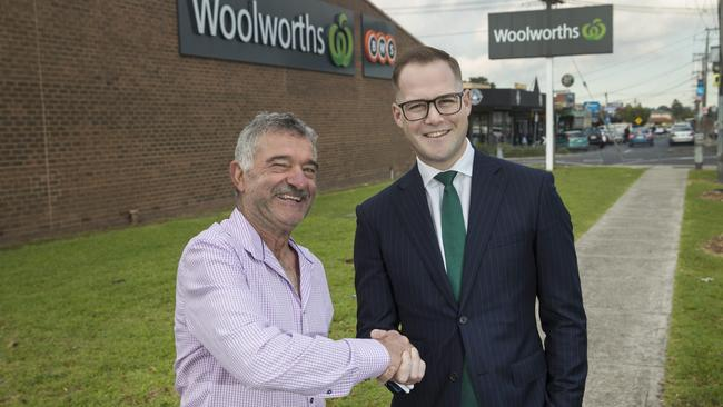 Plumber Emmanuel Zahra pictured with retail investment agent Joseph Du Rieu. Picture: Ian Currie