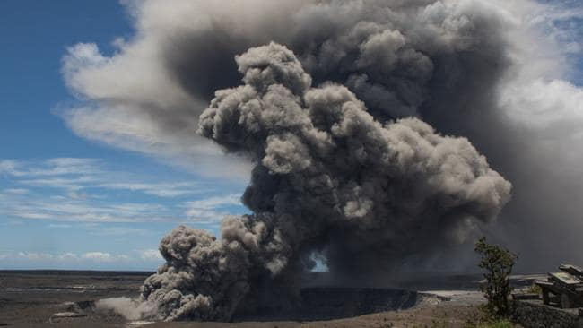 A dark ash plume rises from the Overlook Crater on Kilauea. Picture: AFP/US Geological Survey/HO