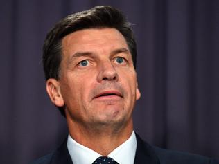 Minister for Law Enforcement Angus Taylor at a press conference at Parliament House in Canberra, Thursday, March 29, 2018. (AAP Image/Mick Tsikas) NO ARCHIVING