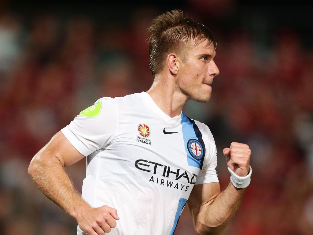 SYDNEY, AUSTRALIA - JANUARY 29: Erik Paartalu of Melbourne City celebrates scoring a goal during the round 17 A-League match between the Western Sydney Wanderers and Melbourne City FC at Pirtek Stadium on January 29, 2016 in Sydney, Australia. (Photo by Matt King/Getty Images)