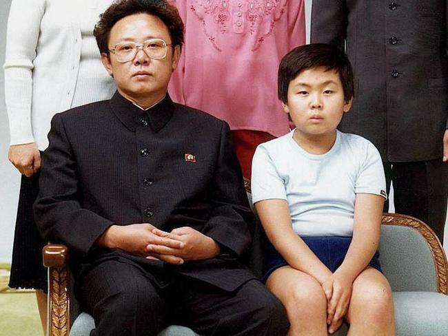 North Korean leader Kim Jong-il pictured with his son, Kim Jong-nam in 1981. Picture: AFP