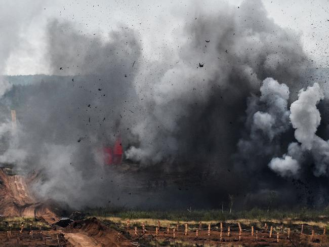 A bomb explodes at the Luzhsky training ground in the Leningrad region during the joint Russian-Belarusian military exercises Zapad-2017. Picture: AFP