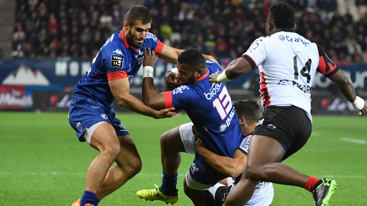 Grenoble's Australian centre Junior Rasolea during the Top 14 match against Toulon.